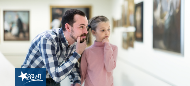 Father and daughter at a Boston art museum